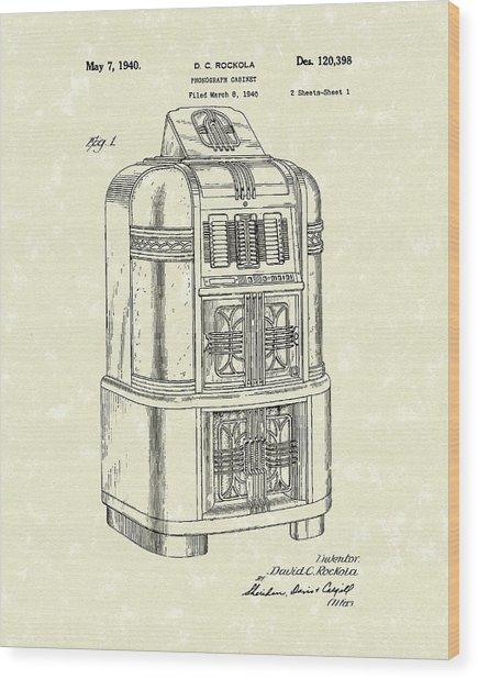 Rockola Phonograph Cabinet 1940 Patent Art Wood Print