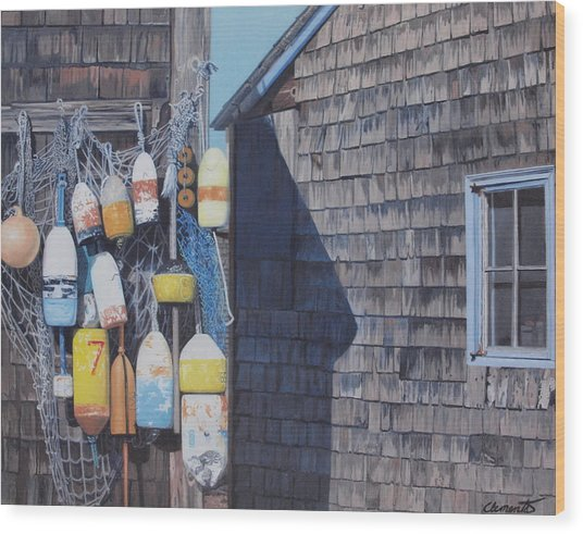 Rockport Fishing Shack With Lobster-buoys And Nets Wood Print
