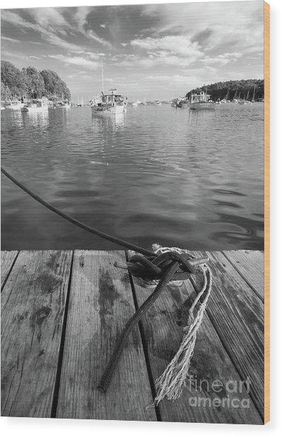 Rockport Harbor, Maine #80458-bw Wood Print
