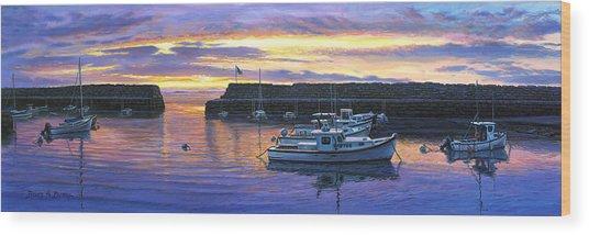Rockport Ma Sunset Wood Print by Bruce Dumas