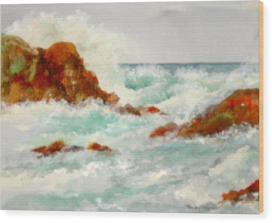 Rocks And Ocean Wood Print