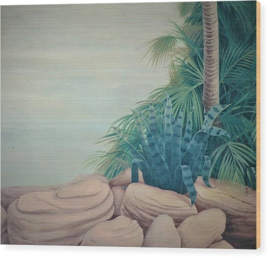 Rocks And Palm Tree Wood Print