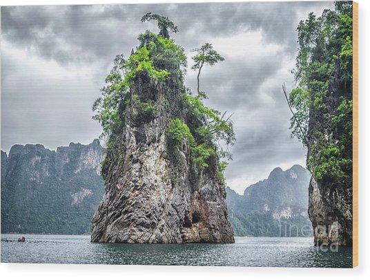 Rocks At Khao Sok Wood Print