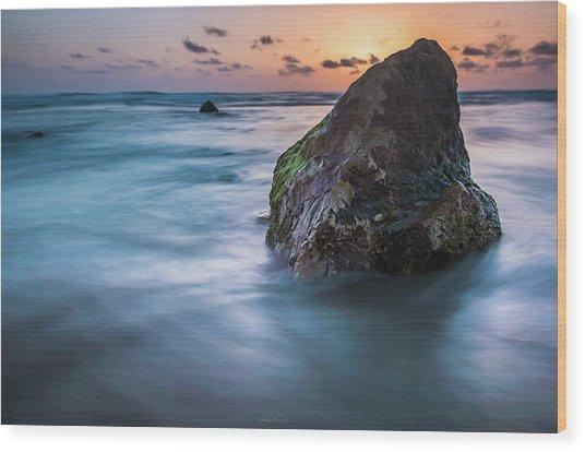 Rocks At Sunset 4 Wood Print