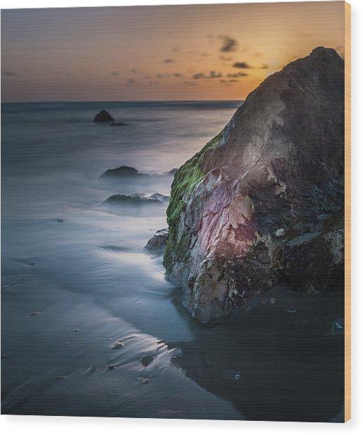 Rocks At Sunset Wood Print