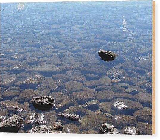 Rocks In Calm Waters Wood Print