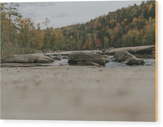 Rocks On Cumberland River Wood Print