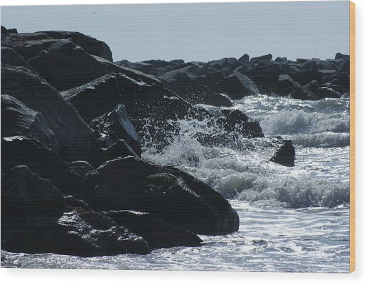 Rocks On The Jetti At Cocoa Beach Wood Print