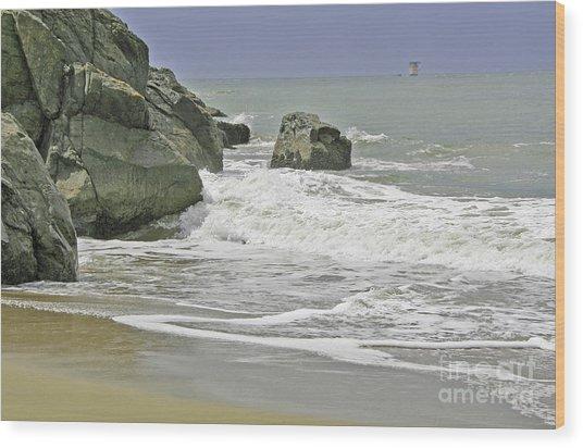 Rocks, Sand And Surf Wood Print