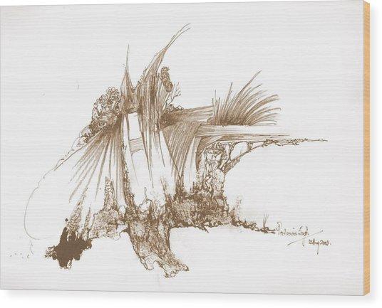 Rocks Stones And Some Grass Wood Print by Padamvir Singh