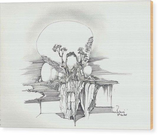 Rocks Trees Women And Faces Wood Print by Padamvir Singh