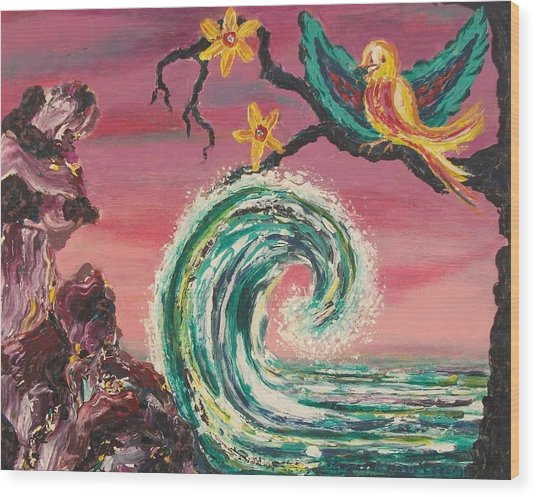 Rocks Wave And Bird Wood Print