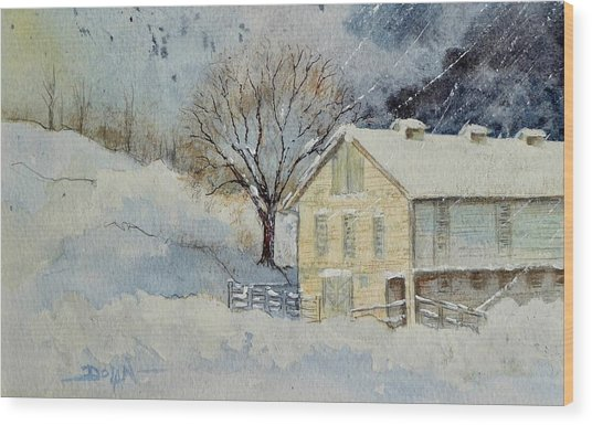 Rockville Farm In Snowstorm Wood Print