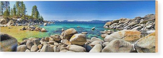 Rocky Cove Sand Harbor Wood Print