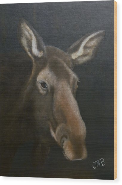 Rocky Mountain House Moose Wood Print by Janice M Booth