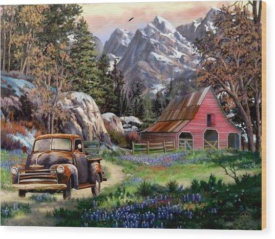 Rocky Mountain Ranch Wood Print