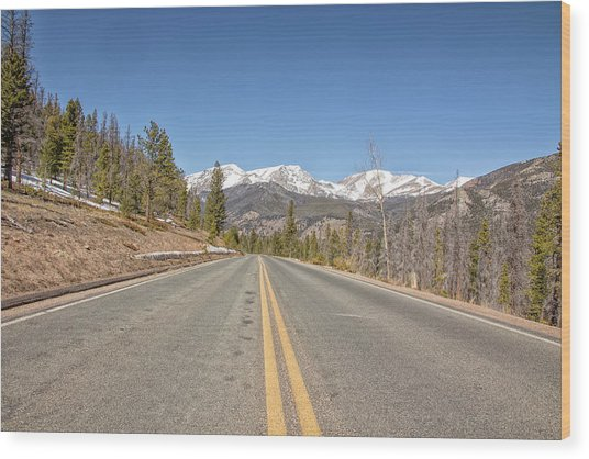 Rocky Mountain Road Heading Towards Estes Park, Co Wood Print
