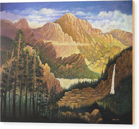 Rocky Mountain Sunrise Wood Print by Donn Kay