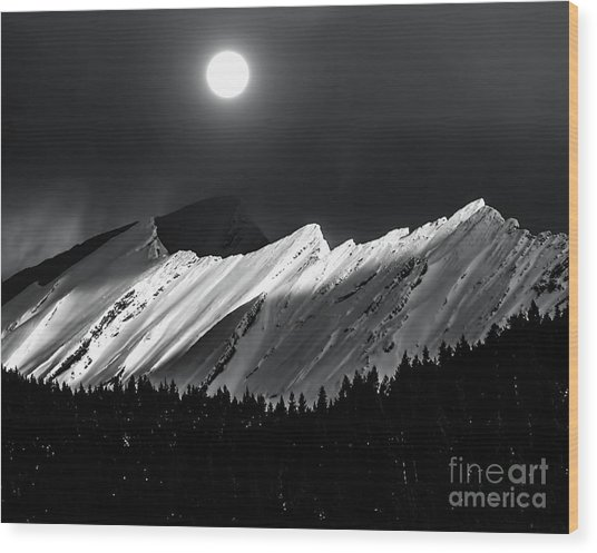 Rocky Mountains In Moonlight Wood Print