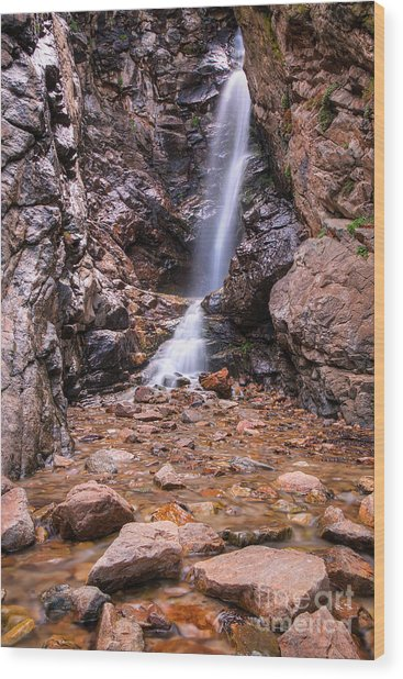 Wood Print featuring the photograph Rocky Mouth Waterfall by Spencer Baugh
