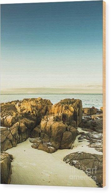 Rocky Oceanscape Wood Print