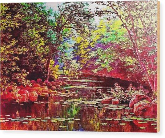 Rocky Rainbow River Wood Print