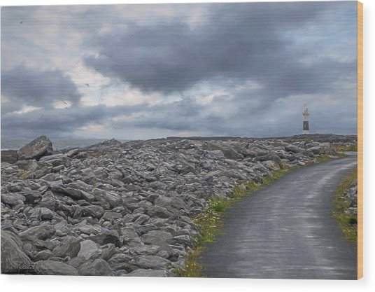 Rocky Road To The Lighthouse Wood Print