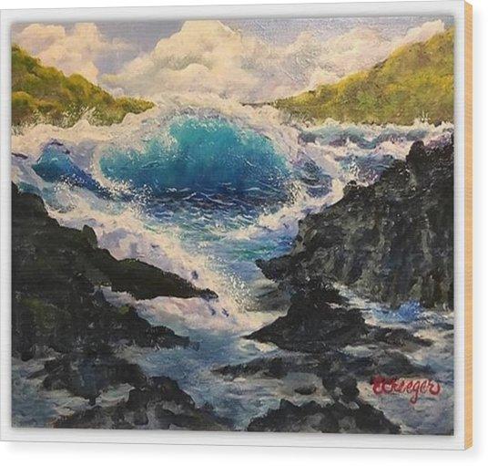 Rocky Sea Wood Print