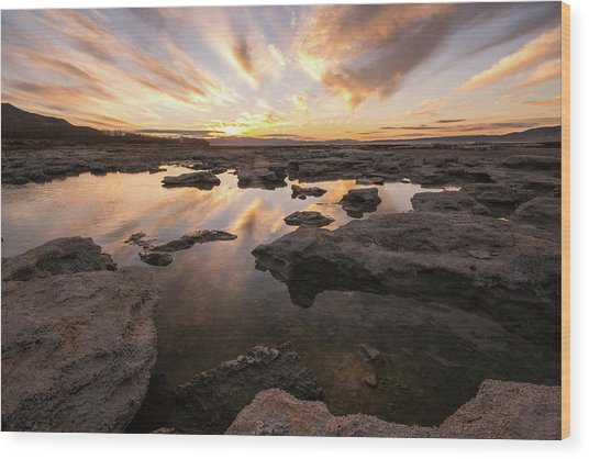 Wood Print featuring the photograph Rocky Shores Of Utah Lake by Wesley Aston