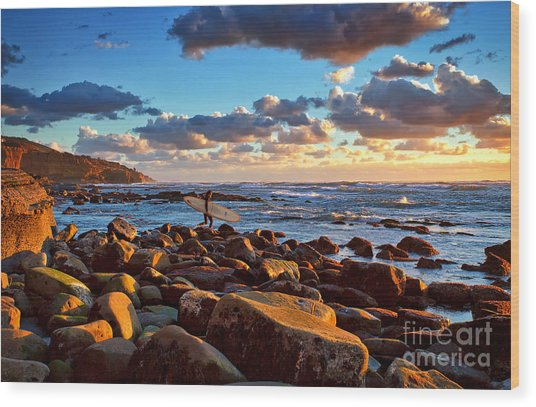 Rocky Surf Conditions Wood Print