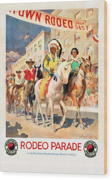 Rodeo Parade - Vintage Poster Restored Wood Print