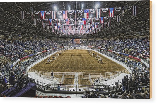 Rodeo Time In Texas Wood Print