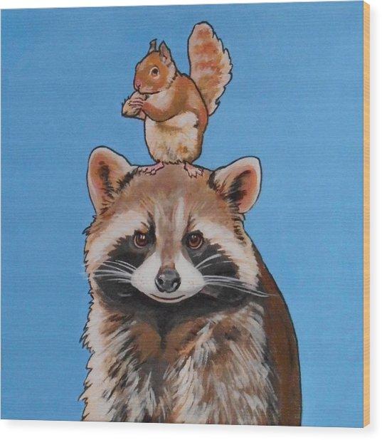 Rodney The Raccoon Wood Print