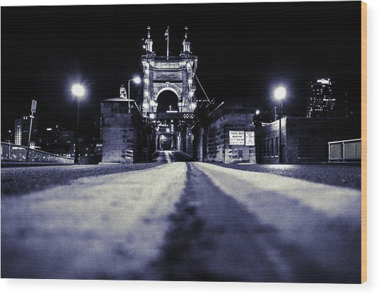 Roebling Suspension Bridge Wood Print