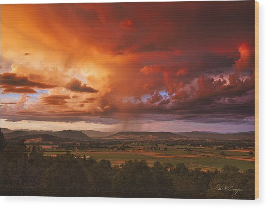 Rogue Valley Sunset Wood Print