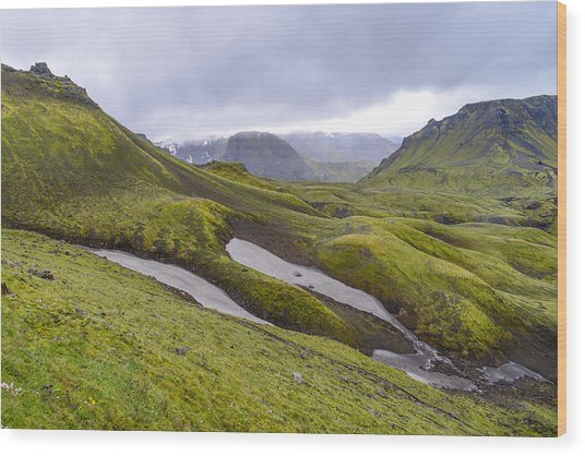 Rolling Lava Flows Entering Iceland's Thorsmork Nature Reserve Wood Print