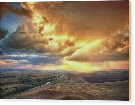 Rolling Rain Of Summer Sunset Wood Print