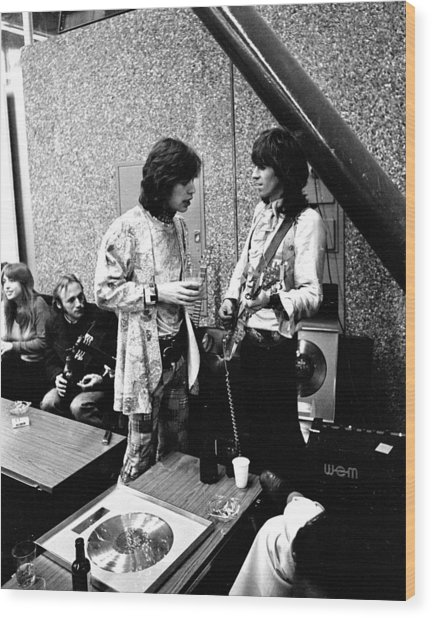 Rolling Stones 1970 Mick And Keith Wood Print