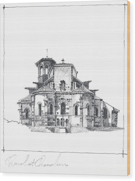 Roman Church At Chamalieres Wood Print
