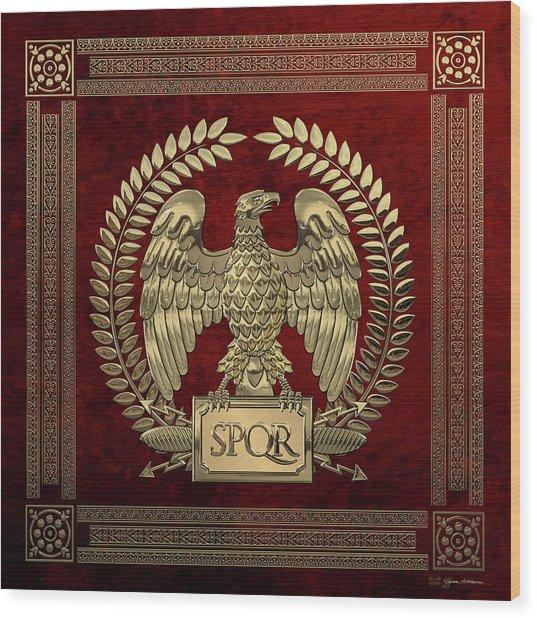 Roman Empire - Gold Imperial Eagle Over Red Velvet Wood Print