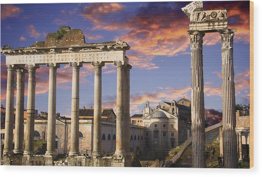 Roman Forum On Fire Wood Print