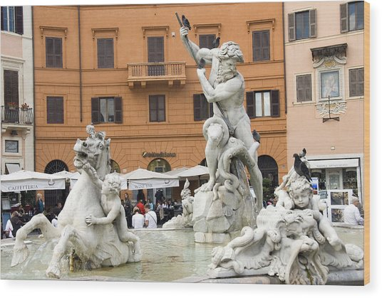 Roman Fountain Wood Print by Charles  Ridgway