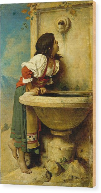 Roman Girl At A Fountain Wood Print