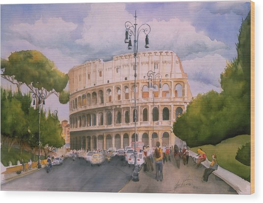 Roman Holiday- Colosseum Wood Print by Leah Wiedemer