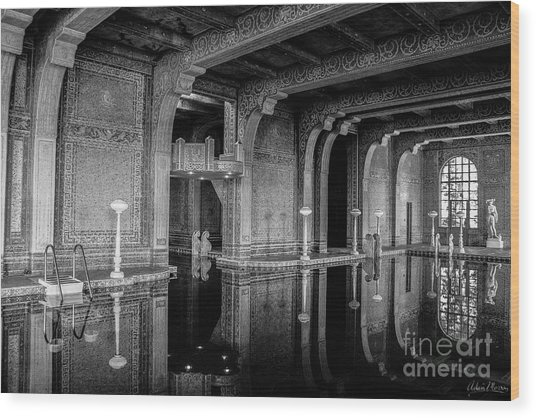 Roman Pool, Black And White Wood Print