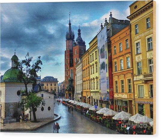 Romance In Krakow Wood Print
