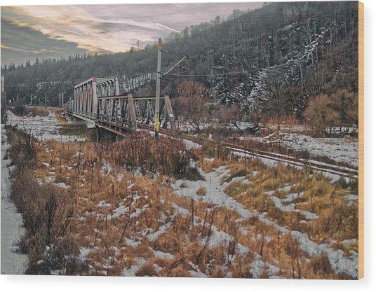 Romania Rail Bridge Wood Print