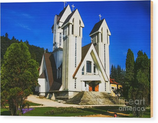 Romanian Church Wood Print by Rick Bragan