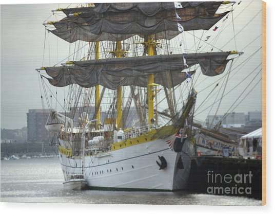 Romanian Tall Ship Wood Print by Jim Beckwith