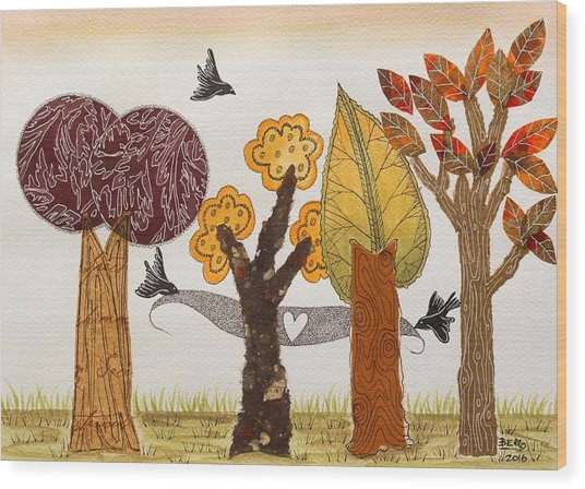 Romantic Autumnal Grove Wood Print